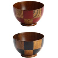 Checkered Lacquerware Soup Bowls