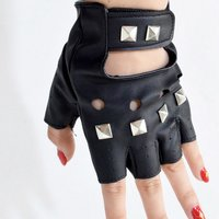 ACDC RAG Studded Black Fingerless Gloves