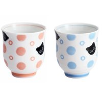 Polka Dots & Cats Mino Ware Teacup