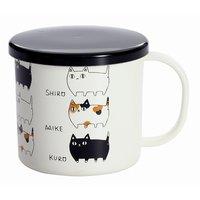 Three Cat Siblings Lacquerware Mug w/ Lid