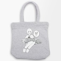 Uemura x PARK Illustrated Gray Tote Bag w/ Dialogue Badge
