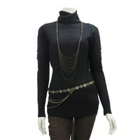 Rozen Kavalier Shoulder Lace Turtleneck Knit Top