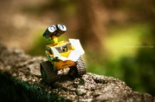 Wall-E charges his batteries