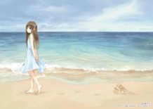 Young Girl and the Sandy Beach in the afternoon, end of Summer