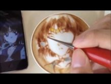 Latte Art Video of Sailor Saturn