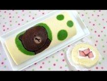 LINE BROWN Swiss Roll Cake ライン ブラウンのスイスロールケーキ