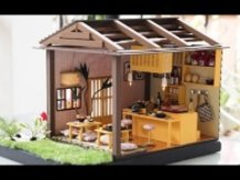DIY Miniature Dollhouse Kit - Sushi Restaurant with Working Lights