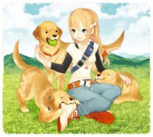 dogs and girl