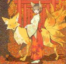 shrine maiden  and  fox