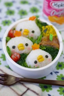 Three chickens bento