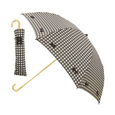 pink trick Gingham Check & Ribbon Collapsible Umbrella (Rain/UV Protective)