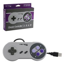 RetroLink USB Compatible SNES Classic-Style Wired Controller for PC and Mac