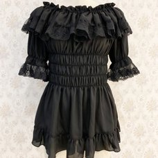 Atelier Pierrot Black Off-Shoulder Short Sleeve Blouse