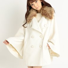 LIZ LISA Faux Fur Collar Poncho Coat