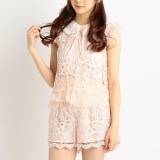 LIZ LISA Ribbon Pattern Lace Shirt