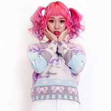 galaxxxy Pastel Glitter Cat Knit Top