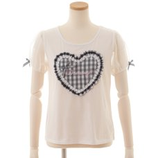 LIZ LISA Puffy Heart Gingham T-Shirt