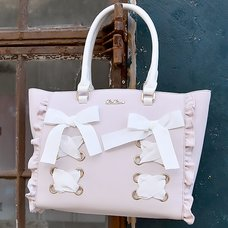 LIZ LISA Lace-Up Ribbon Tote Bag