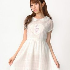 Ank Rouge Front Heart Motif Sheer Check Dress