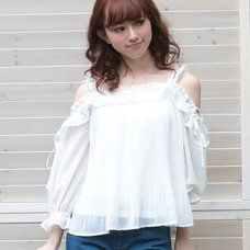 LIZ LISA Pleated Chiffon Top