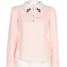 Swankiss Swan Collar Jeweled Blouse