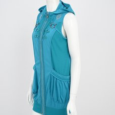 Ozz Oneste Chinese Button Sleeveless Hoodie