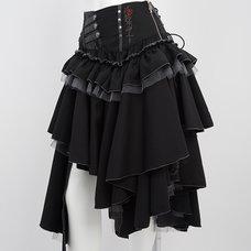 Ozz Oneste Perfume Bottle Print Irregular Hemline Skirt