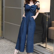 LIZ LISA Ribbon Denim Overalls
