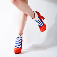 ERIMAKI SOX White x Blue Striped Socks