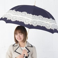 pink trick Lace & Ribbon Umbrella (Rain/UV Protective) - Navy