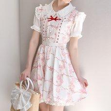 LIZ LISA Rose Ribbon Checkered Jumper Skirt