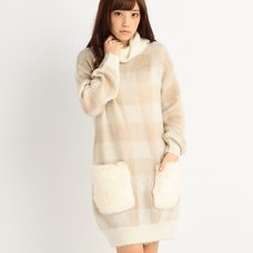 LIZ LISA Soft Plaid Turtleneck Knit Dress