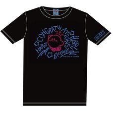 The King of Games Kirby 25th Anniversary Congratulations Black T-Shirt w/ Plush Mascot