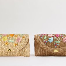 Honey Salon Embroidered Tulip Straw Shoulder Bag