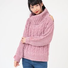 LIZ LISA Loose Turtleneck Open Shoulder Knit Top