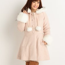 LIZ LISA Scalloped Pom Pom Coat