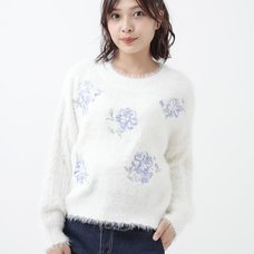 LIZ LISA Embroidered Flower Feather Knit Top