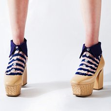ERIMAKI SOX Pink x Navy Striped Socks