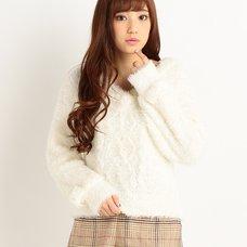 LIZ LISA Fluffy V-Neck Knit Top