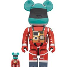 BE@RBRICK 2001: A Space Odyssey Space Suit Green Helmet & Orange Suit Ver. 100% & 400% Set