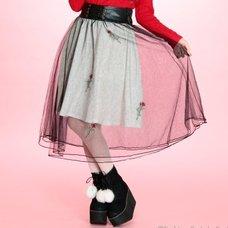 Swankiss Rose & Heart Leopard Print Skirt