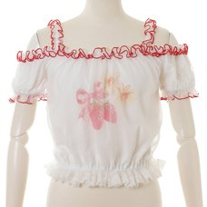 LIZ LISA Daisy Berry Puff Open Shoulder Blouse