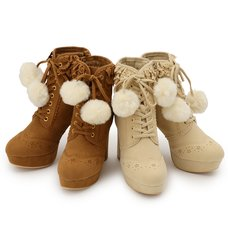 LIZ LISA Extra Frilly Pom Pom Booties