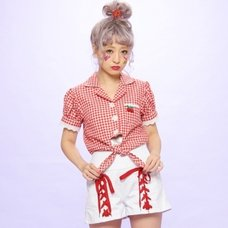 Swankiss Cherry Motif Gingham Blouse