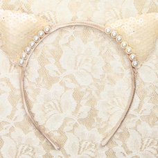LLL Dressy Cat Champagne White Hairband
