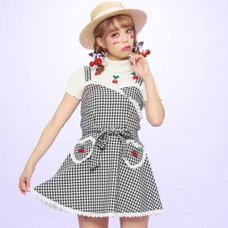 Swankiss Cherry Motif Gingham Dress
