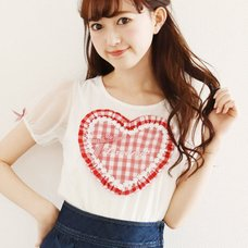 LIZ LISA Heart Gingham Puff Sleeve T-Shirt
