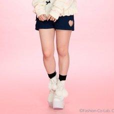 Swankiss Rose & Heart Cut-Out High-Waist Shorts