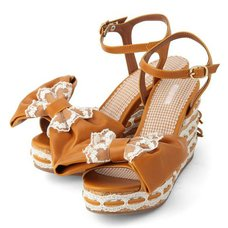 LIZ LISA Big Ribbon Wedge Sandals
