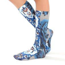 Ahcahcum Blue Rose & Flower Knee High Socks